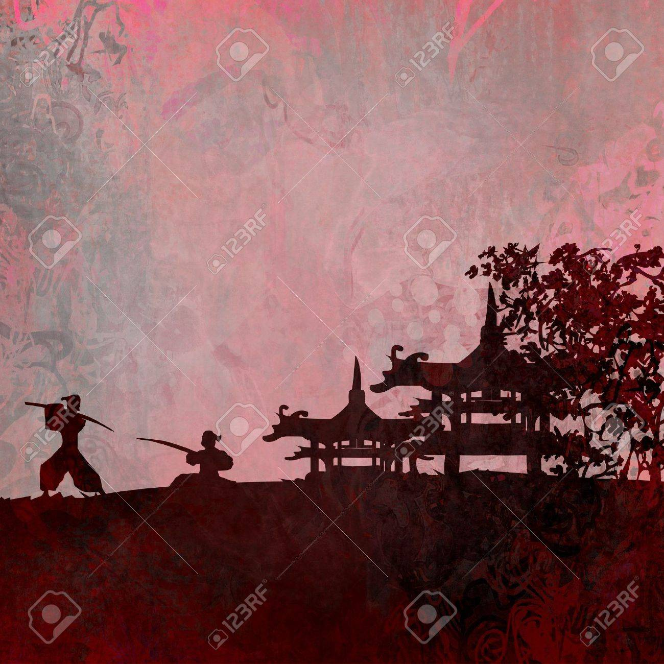 Samurai silhouette in Asian Landscape Stock Photo - 10311123