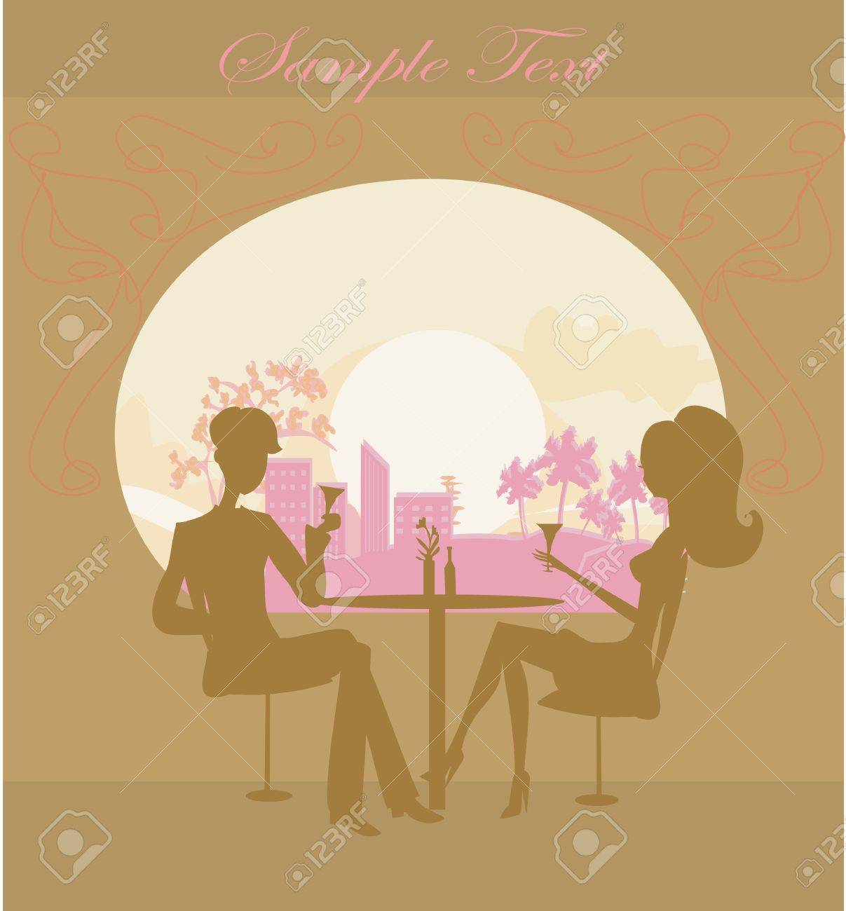 Young couple flirt and drink champagne Stock Vector - 11115006