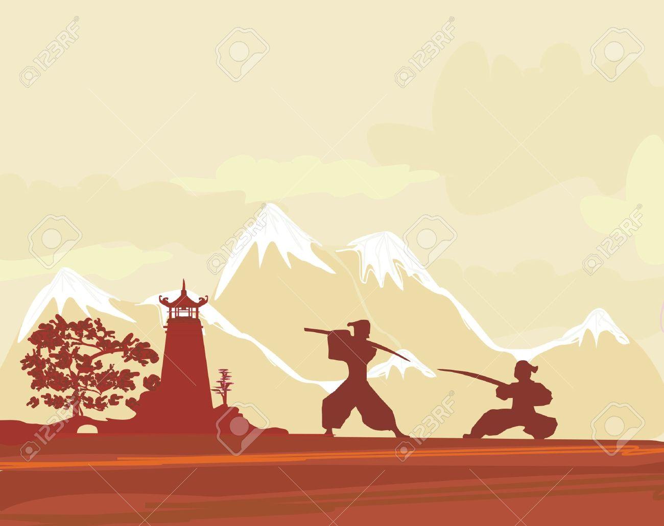 Samurai Silhouette In Asian Landscape Royalty Free Cliparts