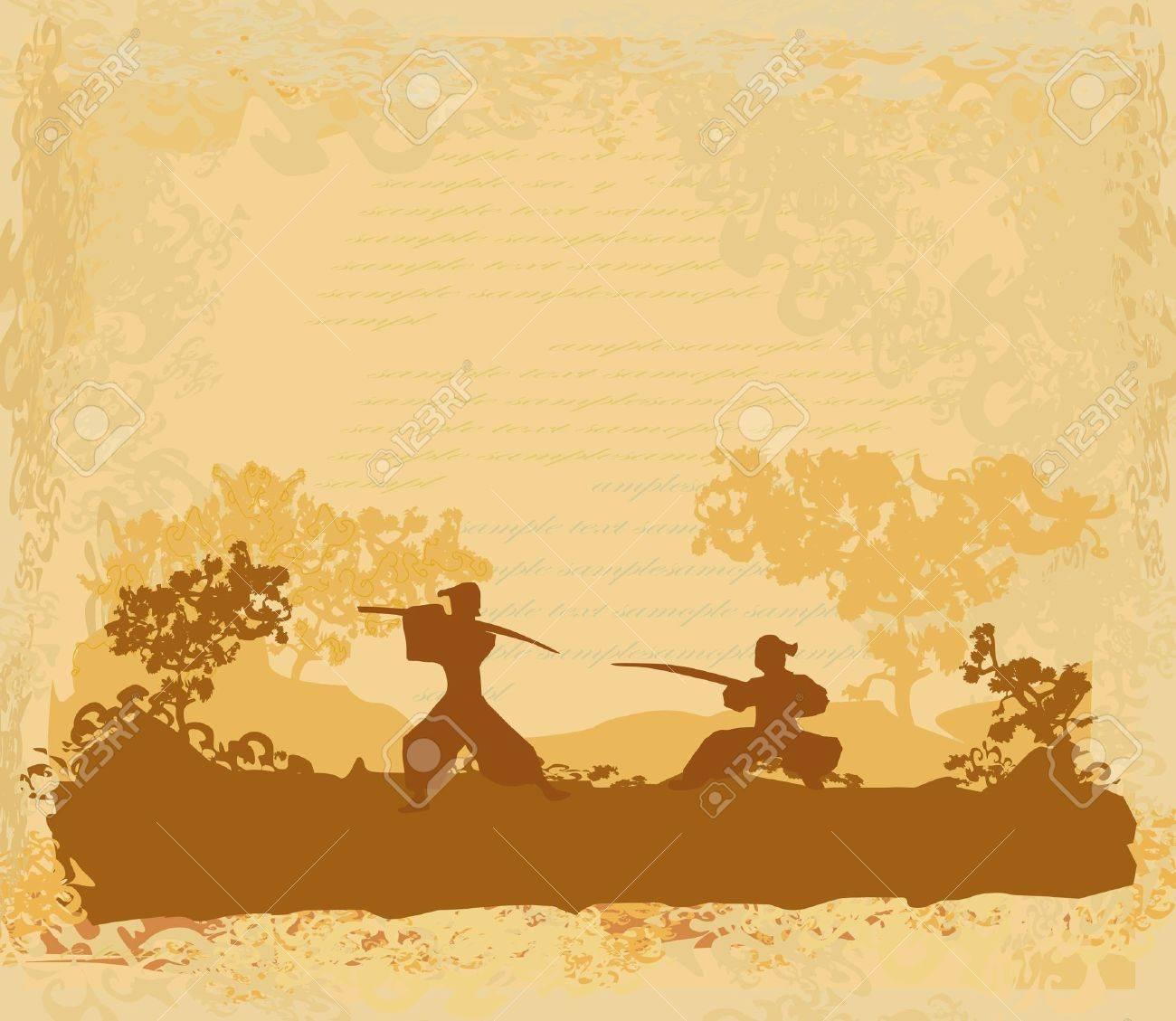 Samurai silhouette in Asian Landscape Stock Vector - 11477343