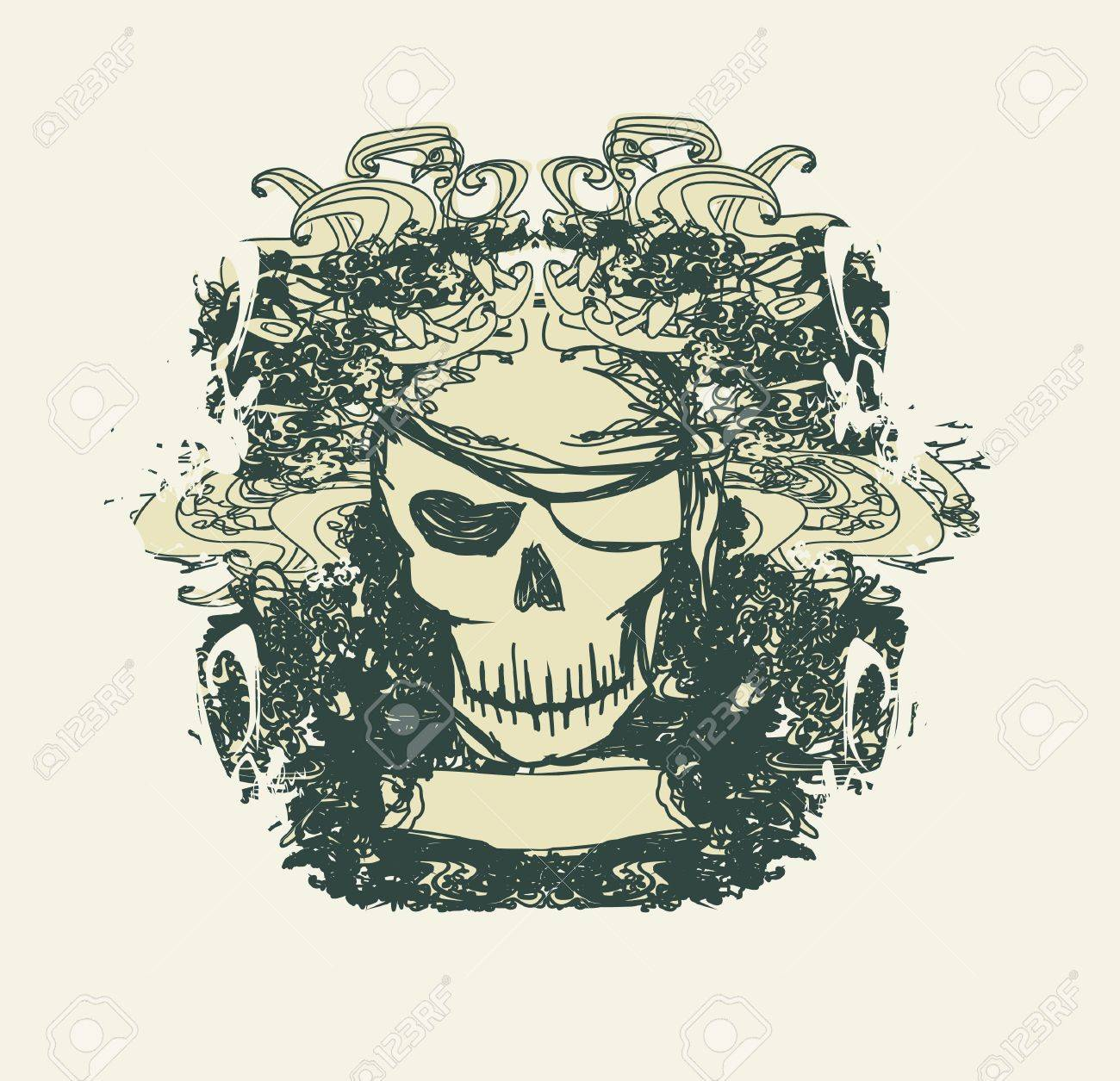 Skull Pirate - retro card Stock Vector - 11563599