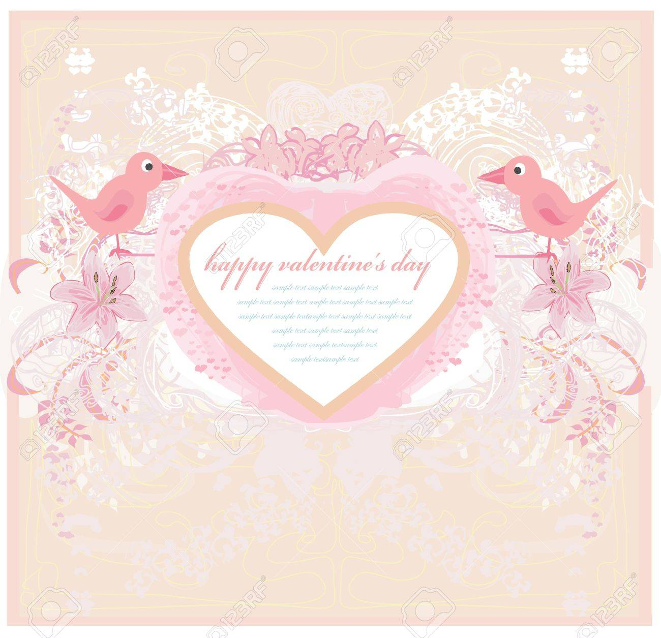valentines day greeting card with 2 sweet love birds Stock Vector - 11563585