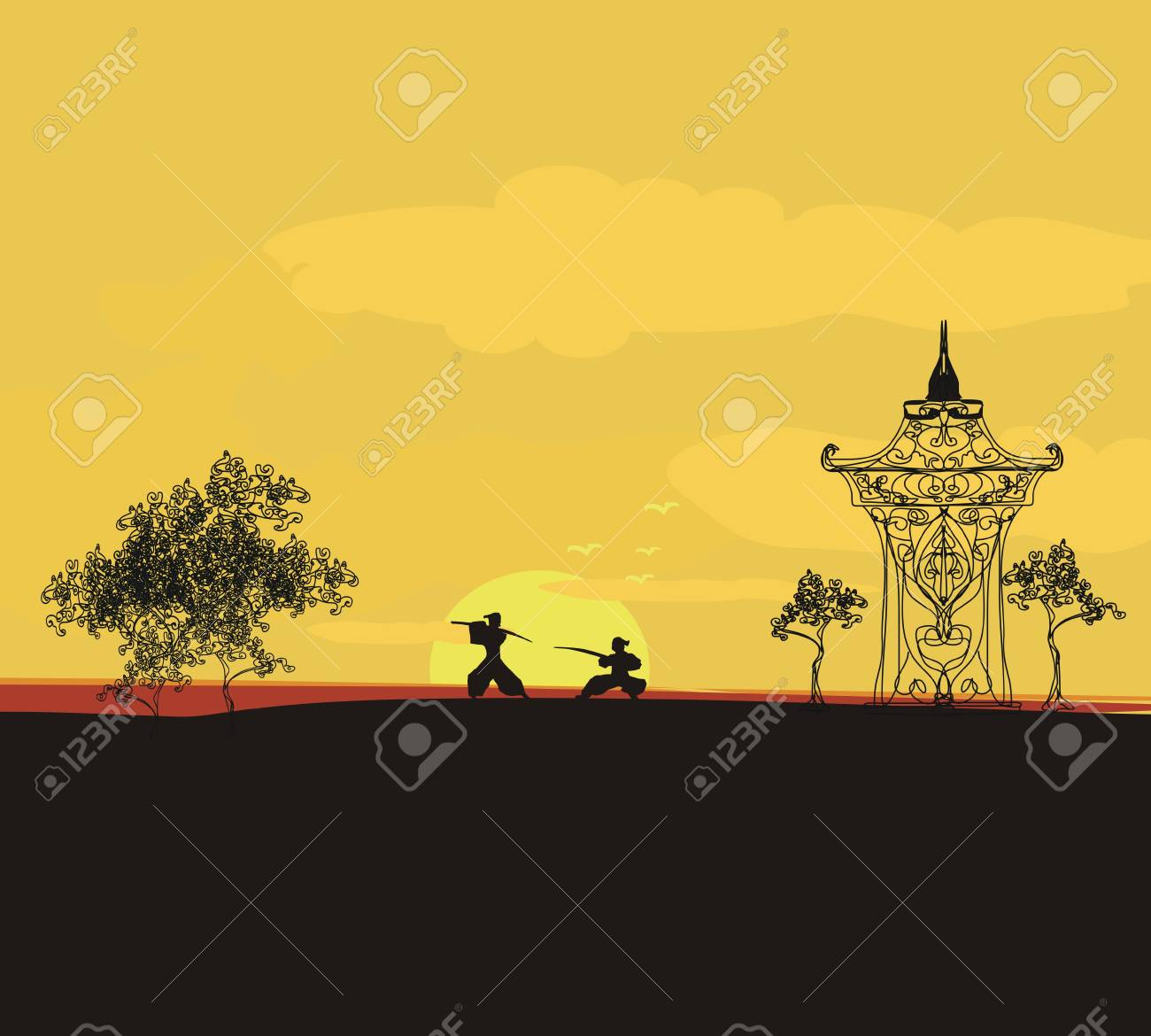 old paper with Samurai silhouette Stock Vector - 11658022