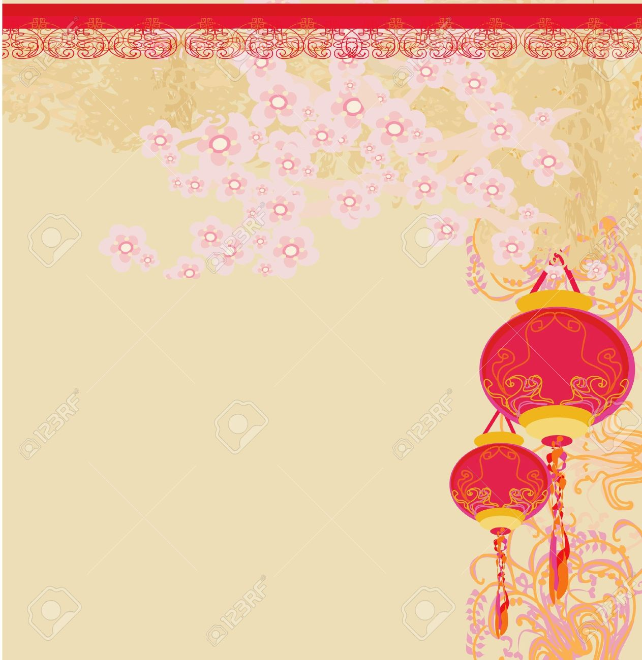 Chinese New Year Card, Vector Royalty Free Cliparts, Vectors, And ...