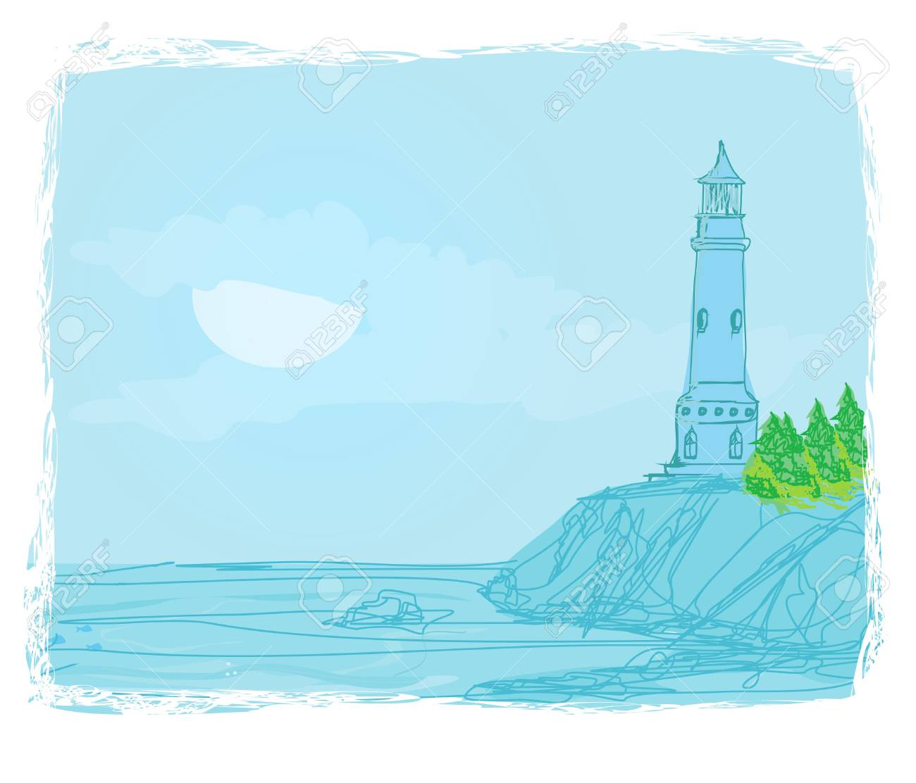 lighthouse seen from a tiny beach - Grunge Poster Stock Vector - 11899076