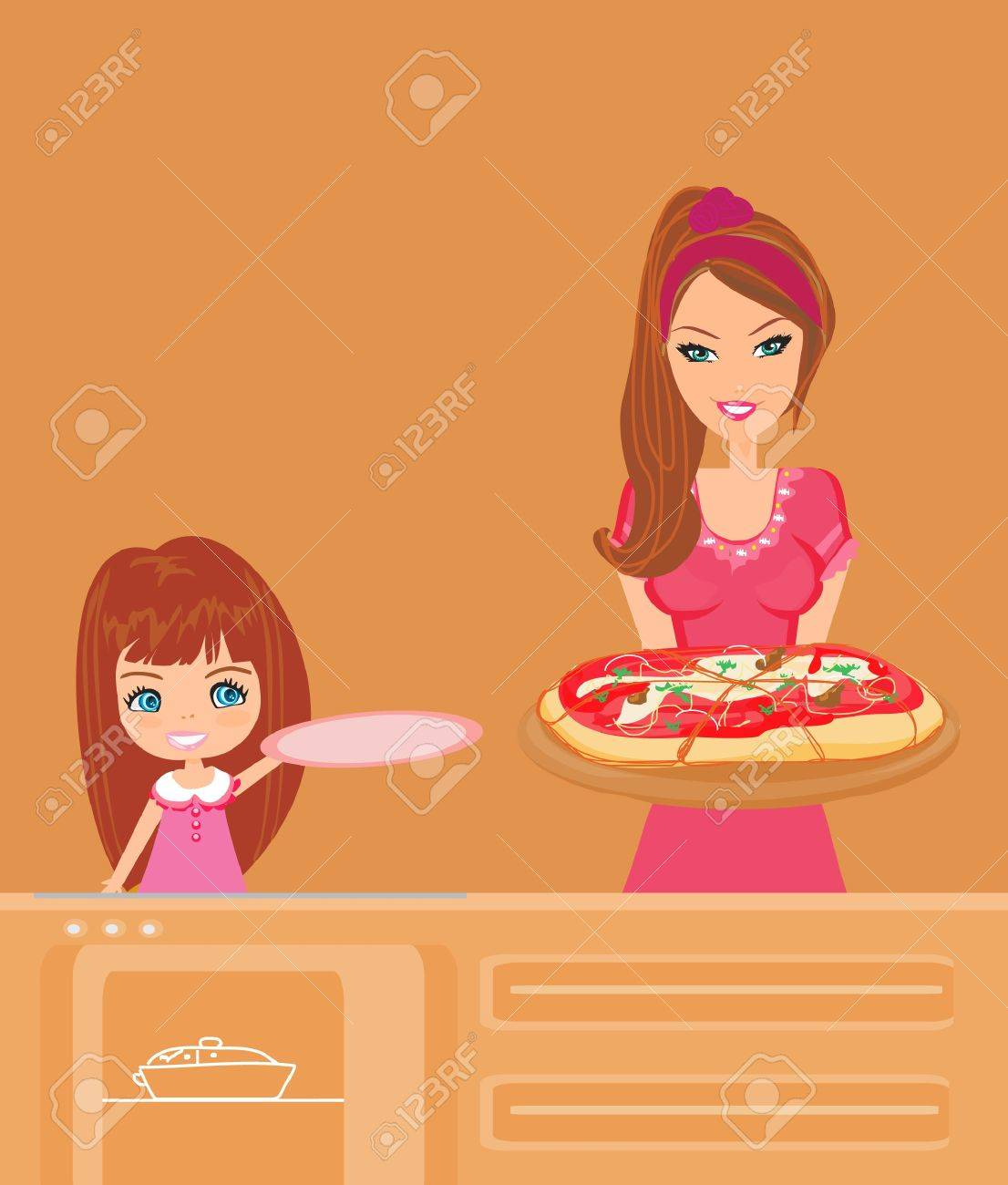 Housewife serving pizza Stock Vector - 11934547