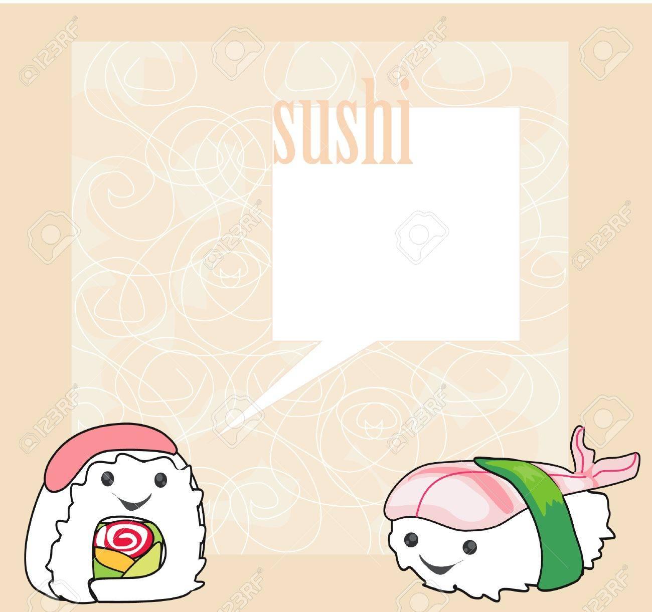 cute sushi cartoon illustration - vector card Stock Vector - 11978694
