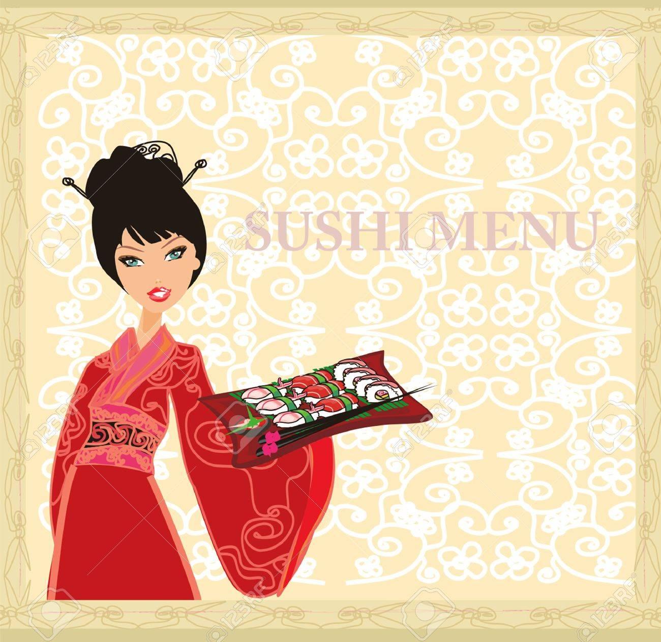 beautiful Asian girl enjoy sushi - menu template Stock Vector - 11978704