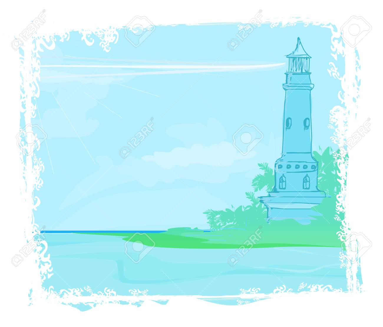 lighthouse seen from a tiny beach Stock Vector - 12162233