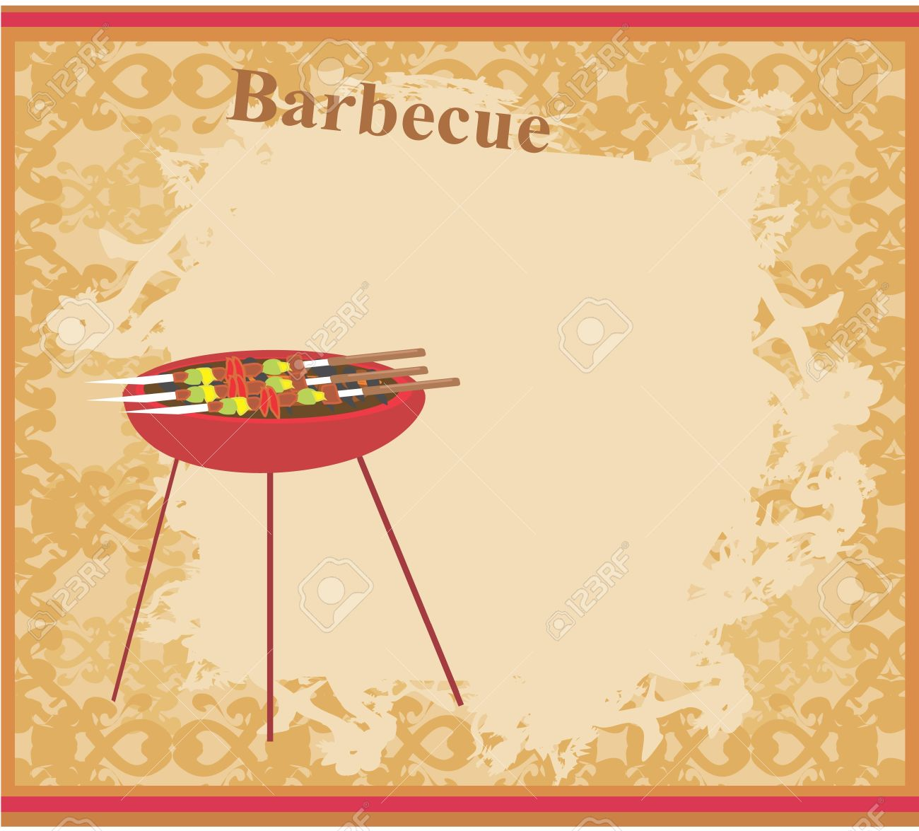 Cookout border clipart hot dog cookout invite stock vector art - Backyard Bbq Barbecue Party Invitation Illustration