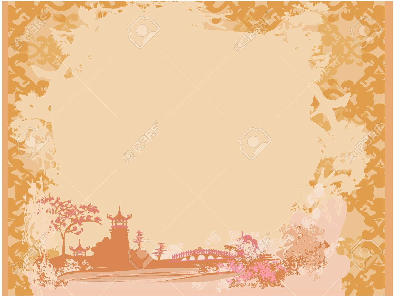 old paper with asian landscape royalty free cliparts vectors and