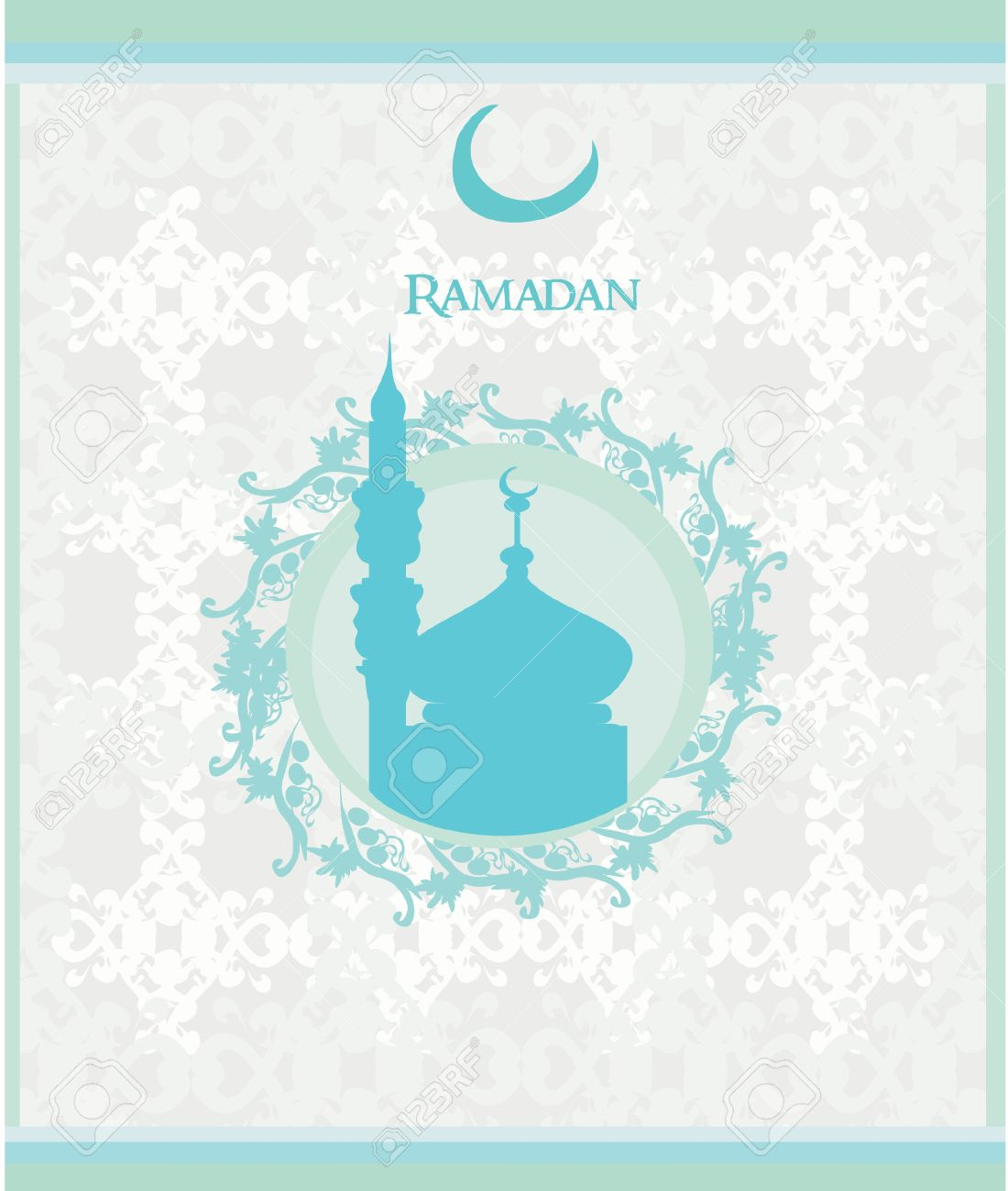 Ramadan Background - Mosque Silhouette Card. Royalty Free Cliparts ...