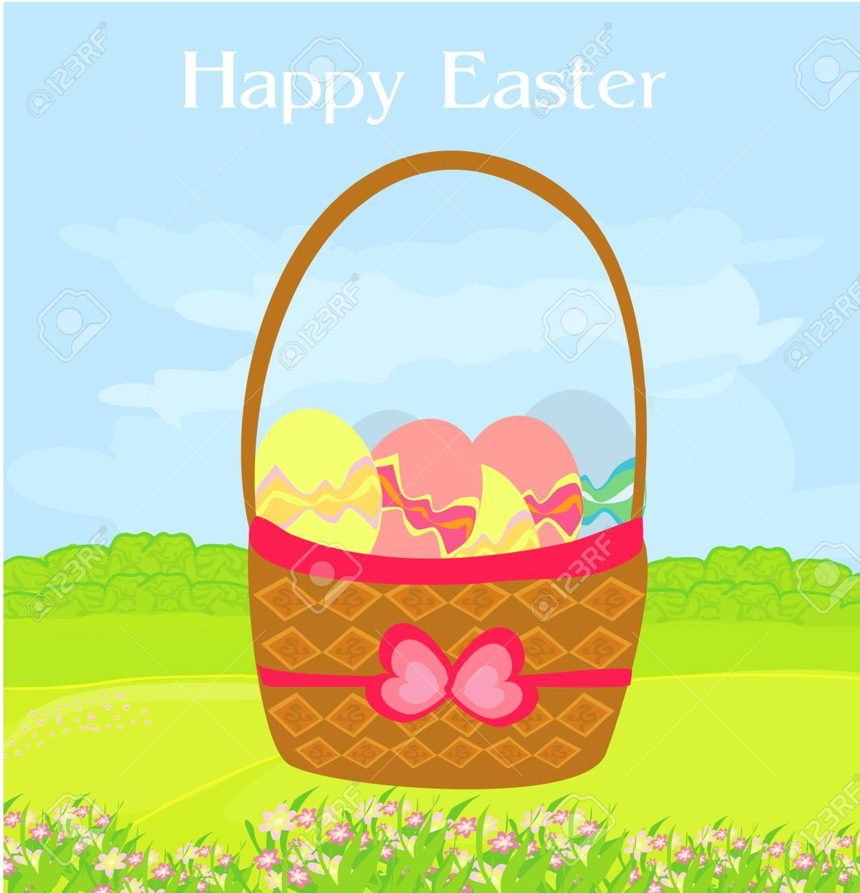 happy easter border. Stock Vector - 12162347