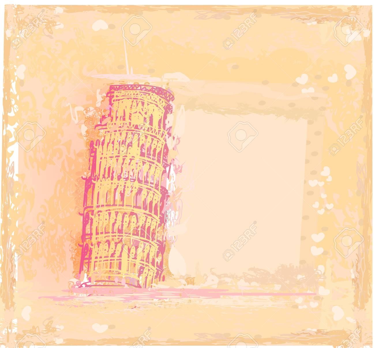vector pisa tower grunge background Stock Vector - 12459860