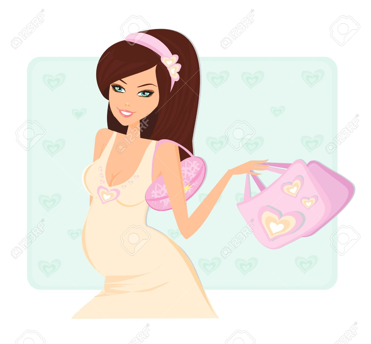 Beautiful pregnant woman on shopping for her new baby. Vector Illustration. Stock Vector - 12460035