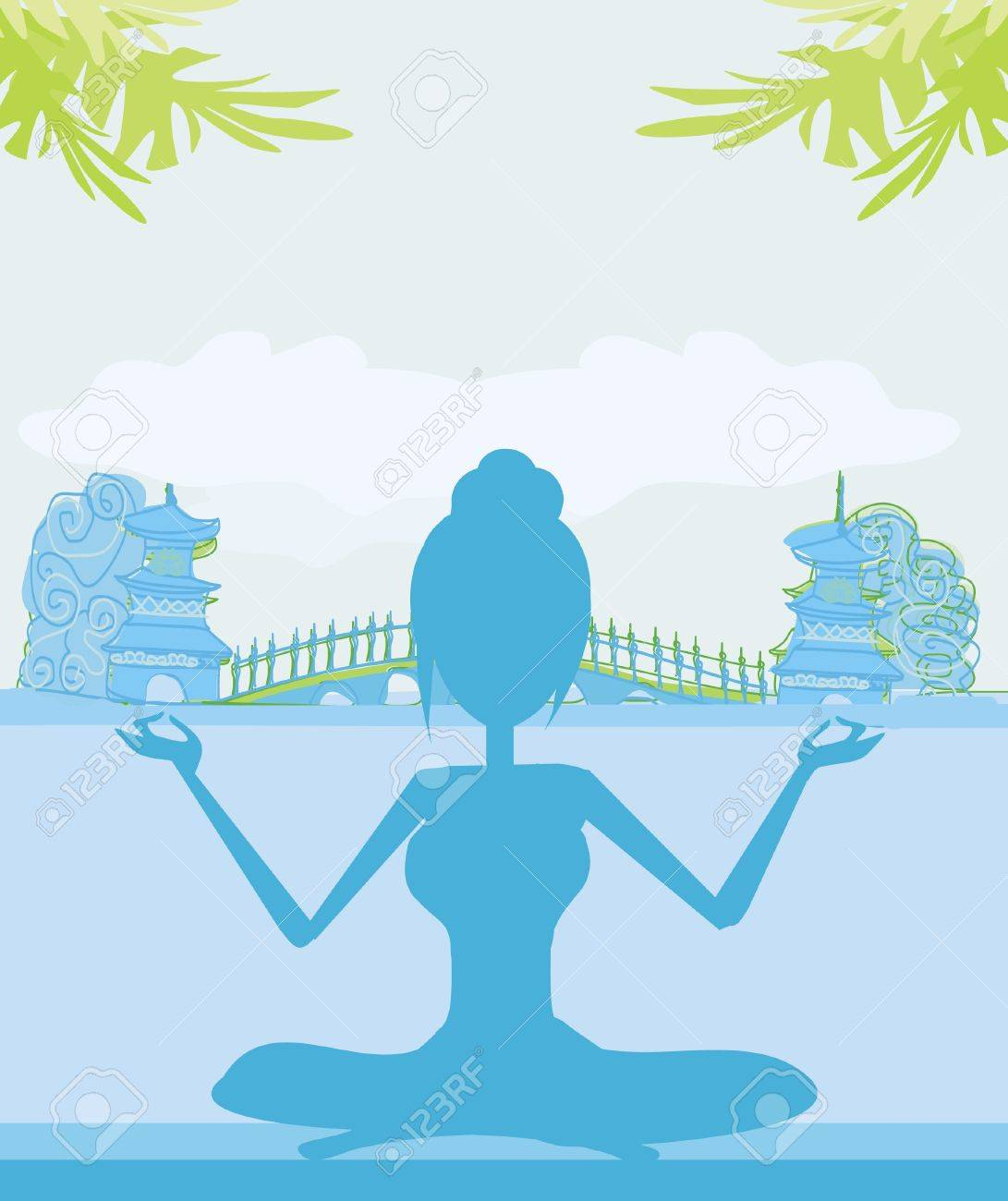 Silhouette of a Girl in Yoga pose on Summer background with palm tree Stock Vector - 12460033