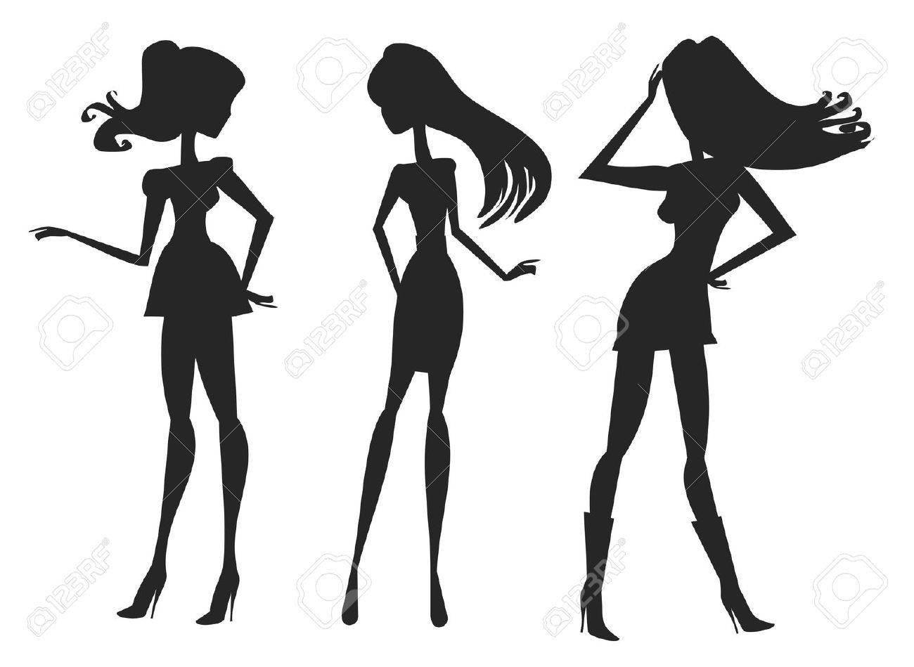 Vector fashion shopping girls silhouettes Stock Vector - 12459968