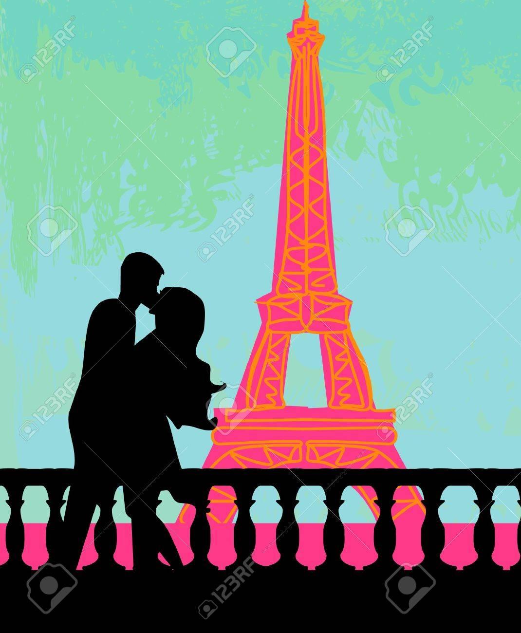 Romantic couple in Paris kissing near the Eiffel Tower  Retro card Stock Vector - 12460077
