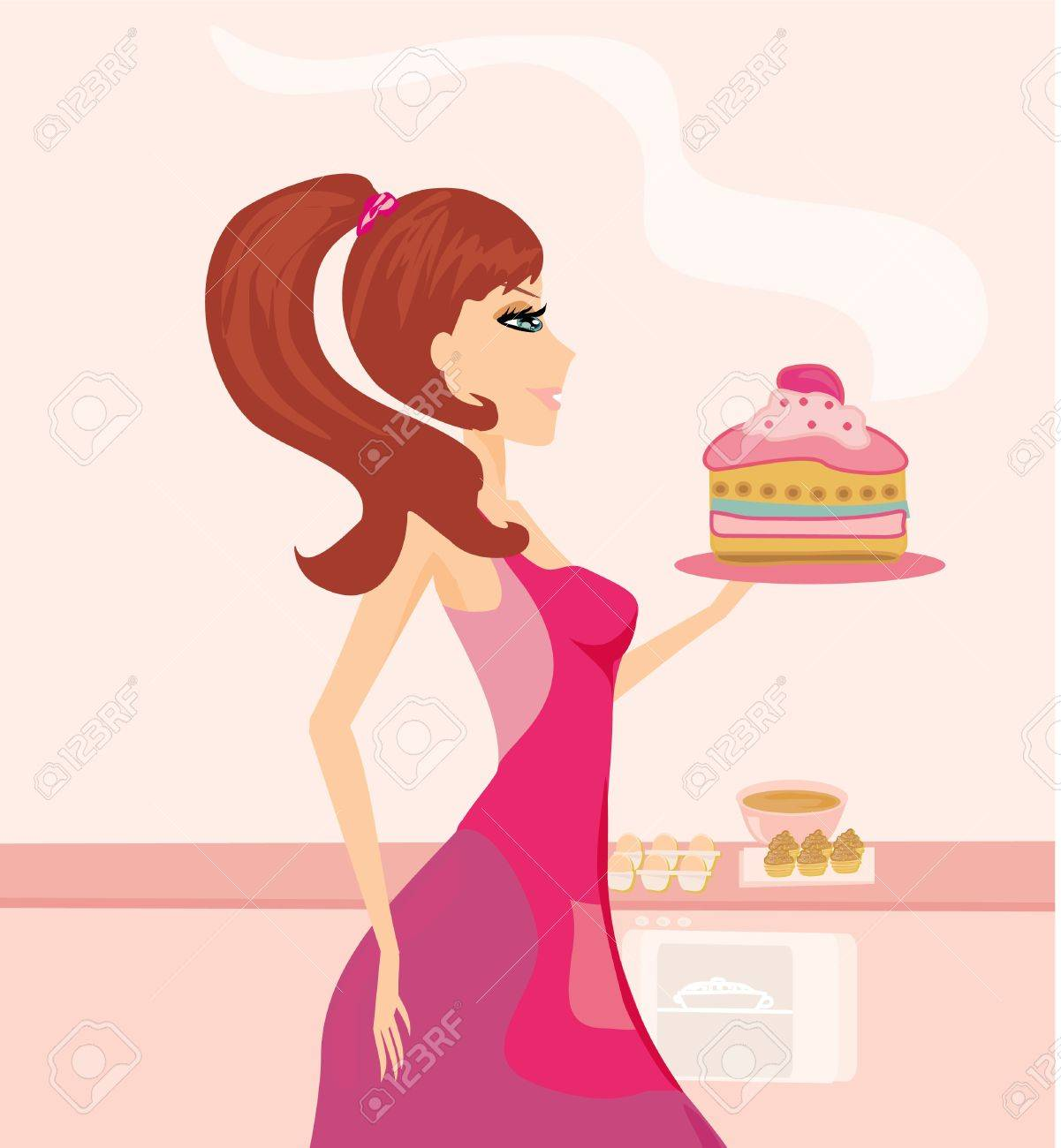 beautiful Housewife cooking Stock Vector - 12460180