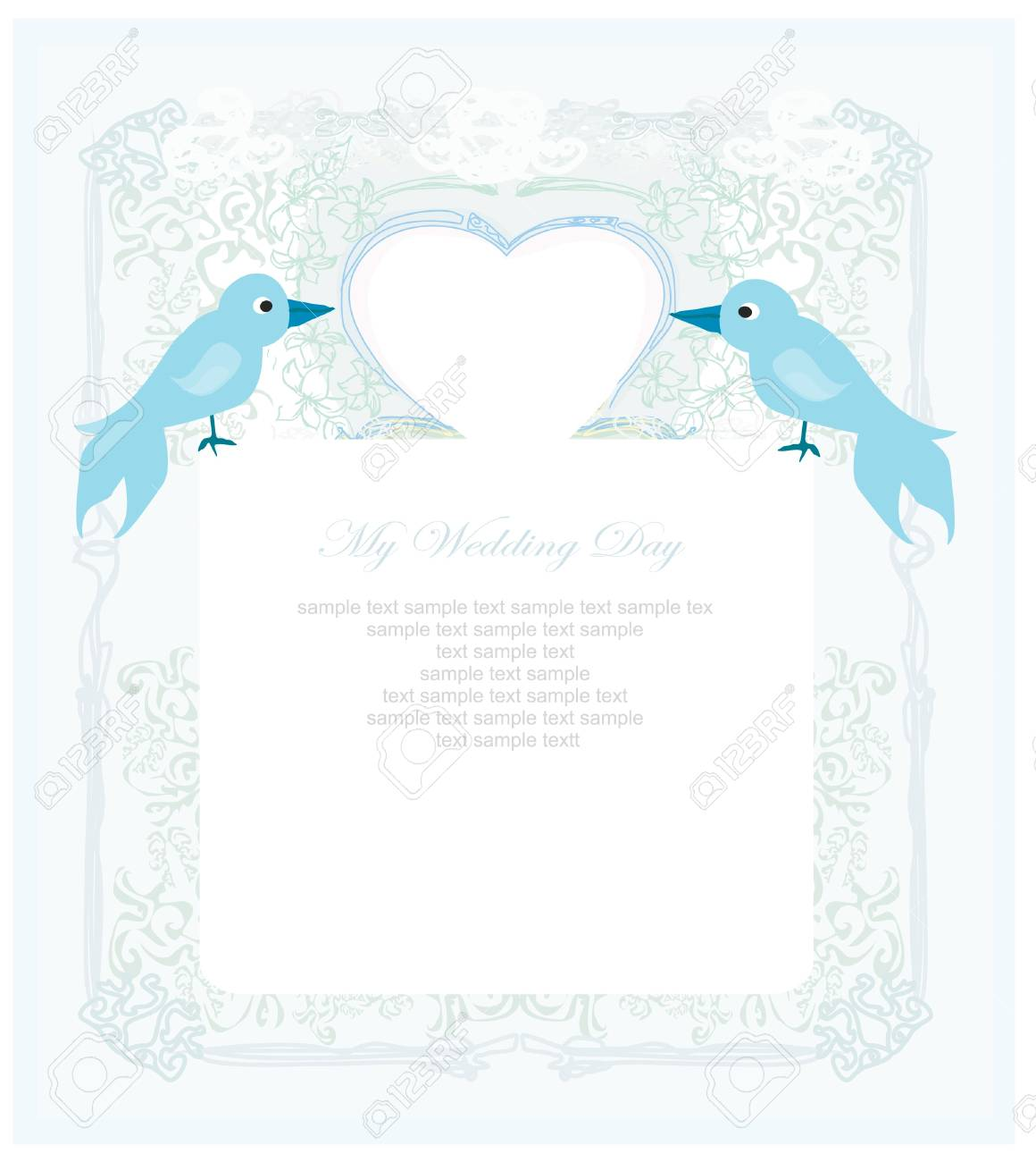 valentines day greeting card with 2 sweet love birds Stock Vector - 12460229