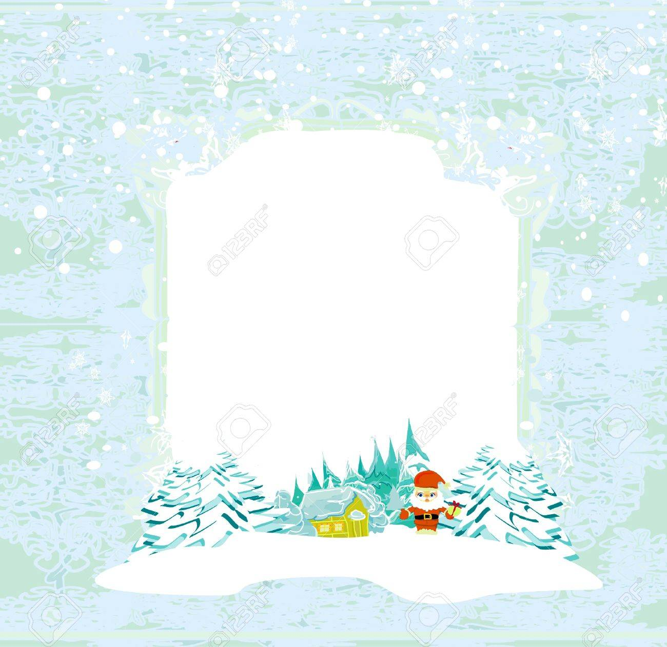 Happy New year card with Santa and winter landscape Stock Vector - 12460239