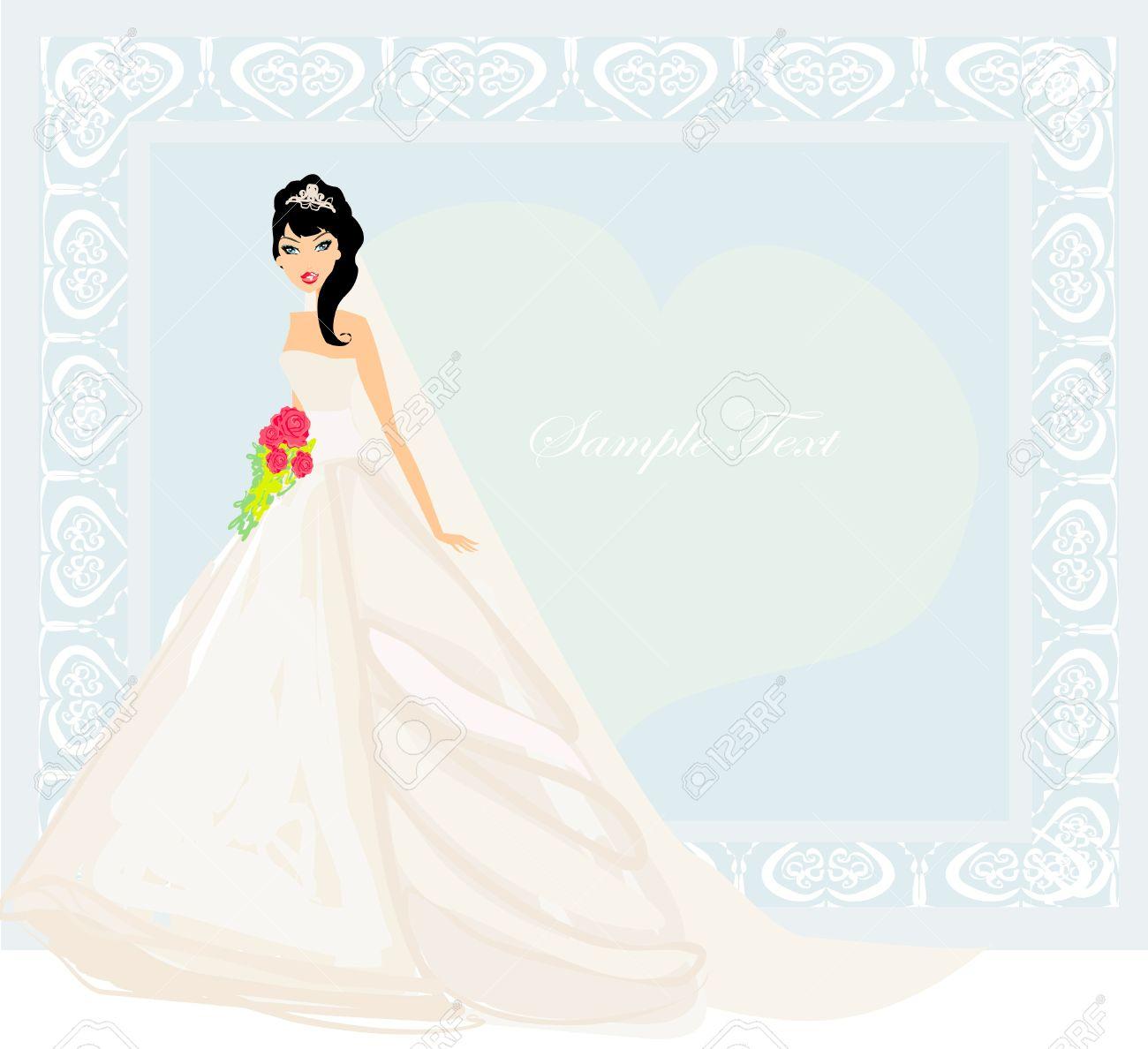 beautiful bride card stock vector 12498179