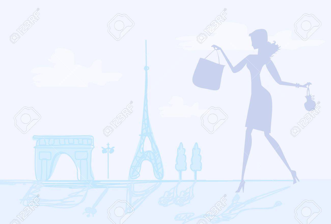 fashion girl Shopping in Paris Stock Vector - 12743913