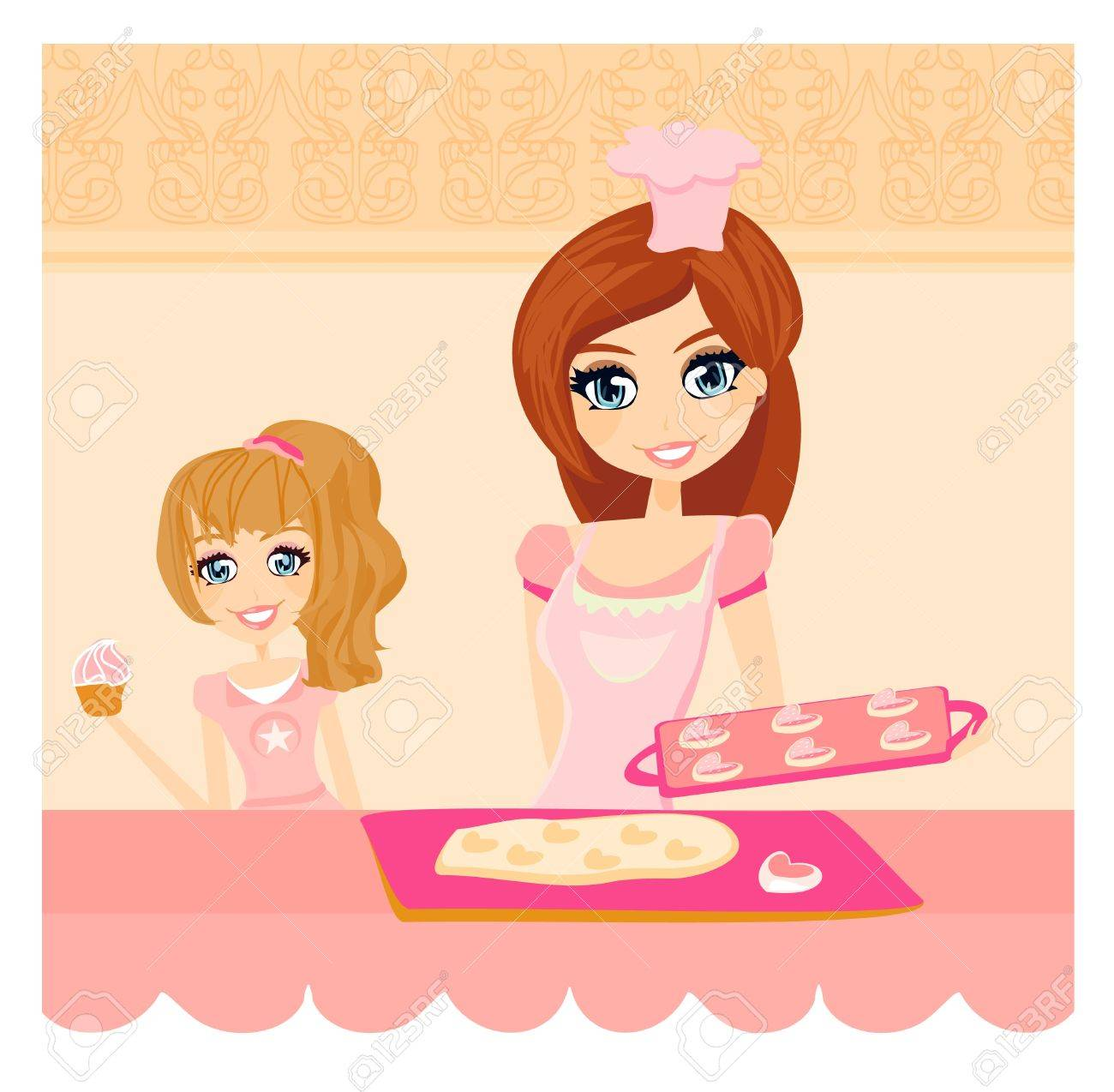 Happy mother helping her daughter cooking in the kitchen Stock Vector - 12743991