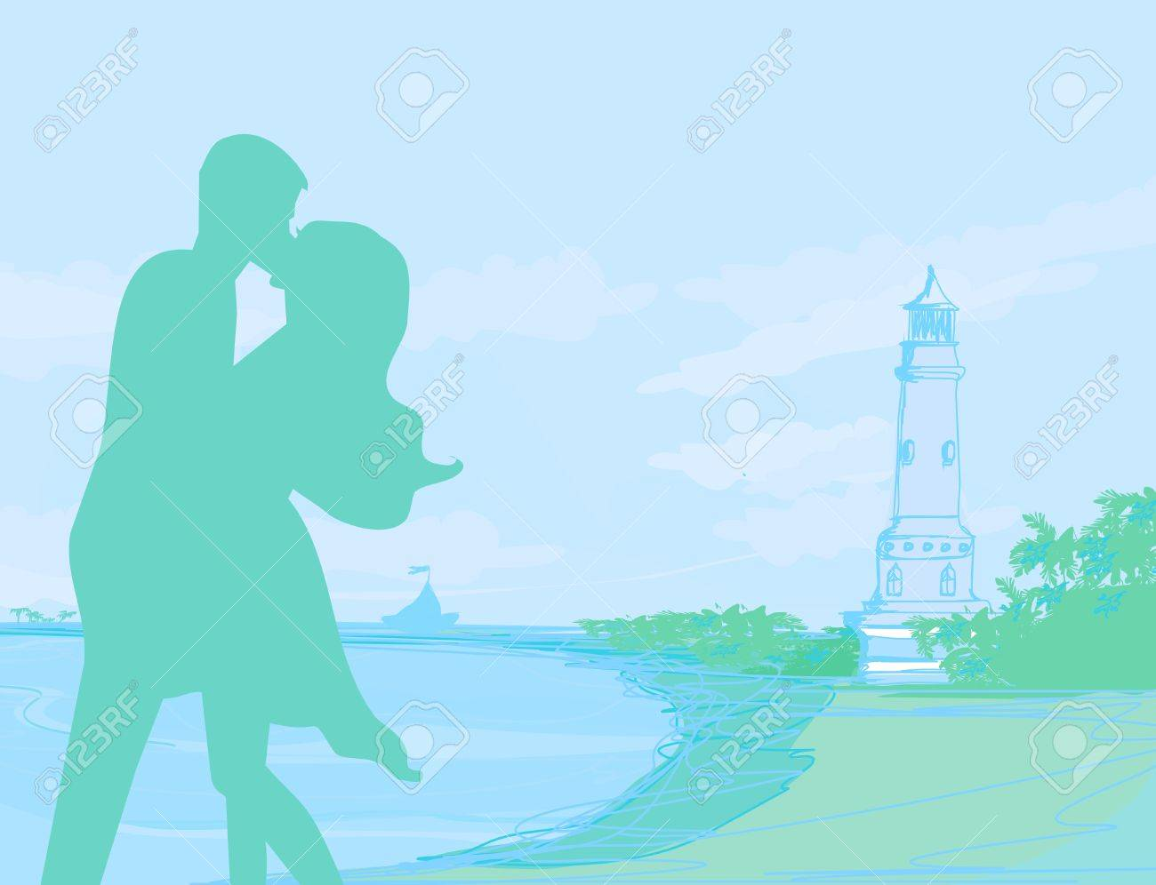 silhouette couple on tropical beach Stock Vector - 12744324
