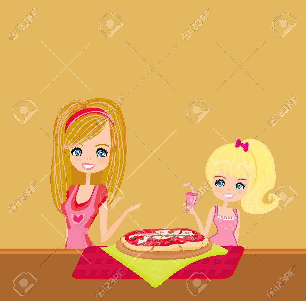 Housewife serving pizza Stock Vector - 12744350