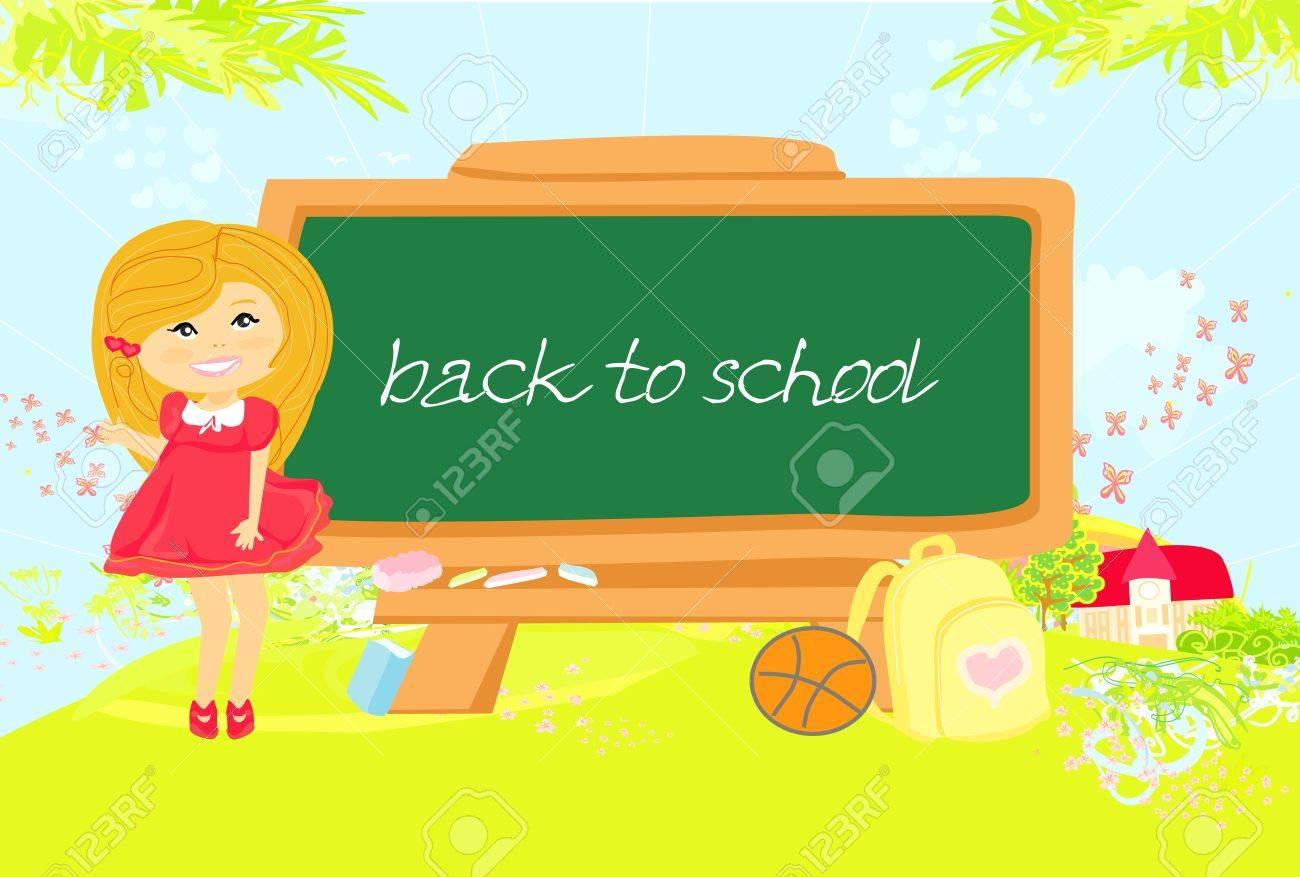 illustration of back to school girl Stock Vector - 12744505