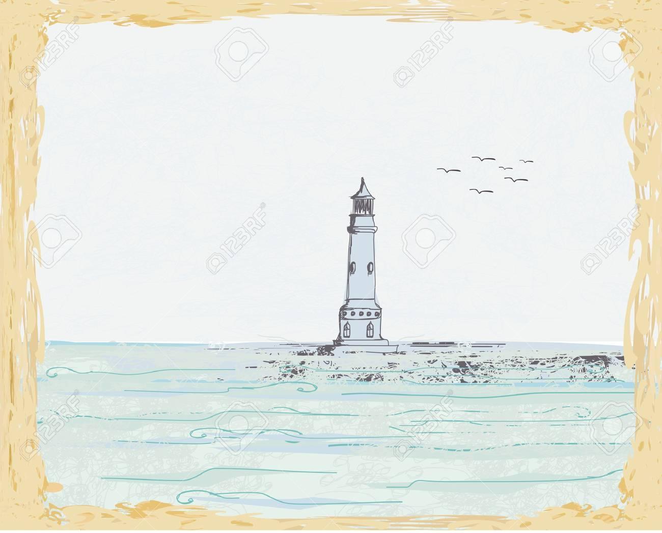 lighthouse seen from a tiny beach Stock Vector - 12885614