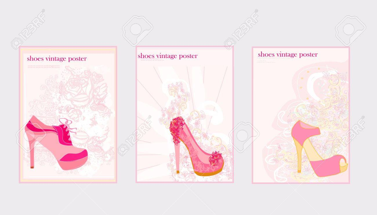 Price Tags With shoes vintage set Stock Vector - 12885639