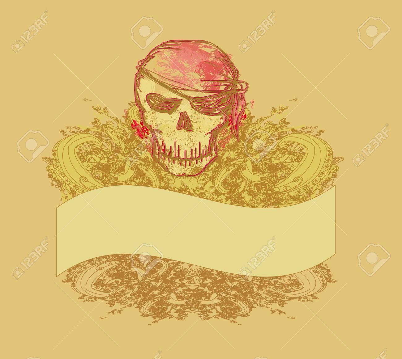 Skull Pirate - retro card Stock Vector - 12885846