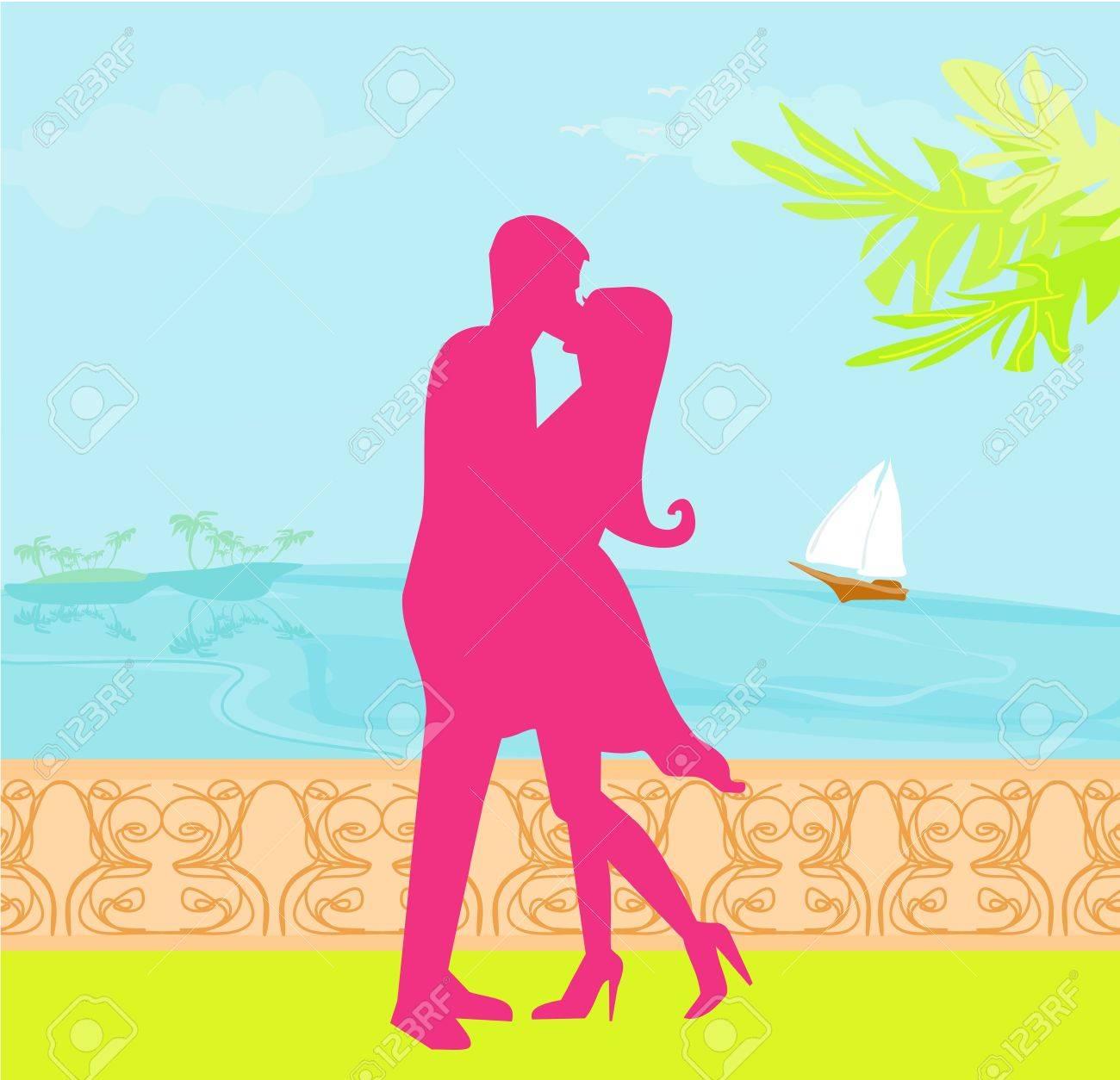 silhouette couple on tropical beach Stock Vector - 12885671