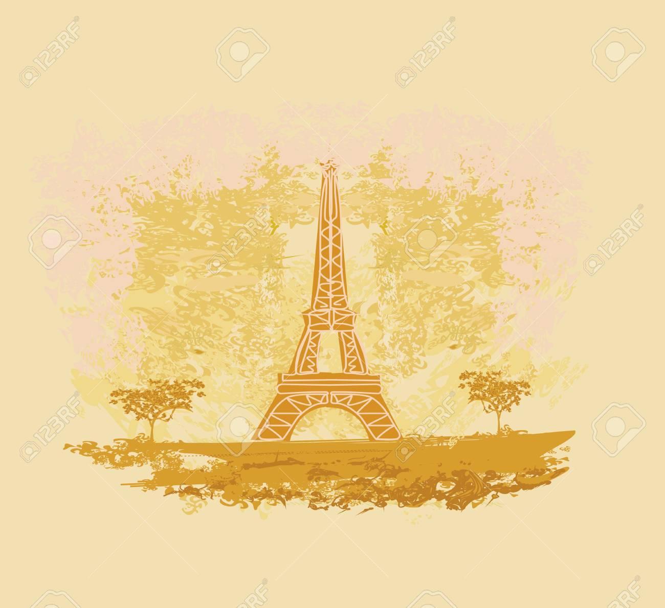 vintage retro Eiffel card Stock Vector - 13059989