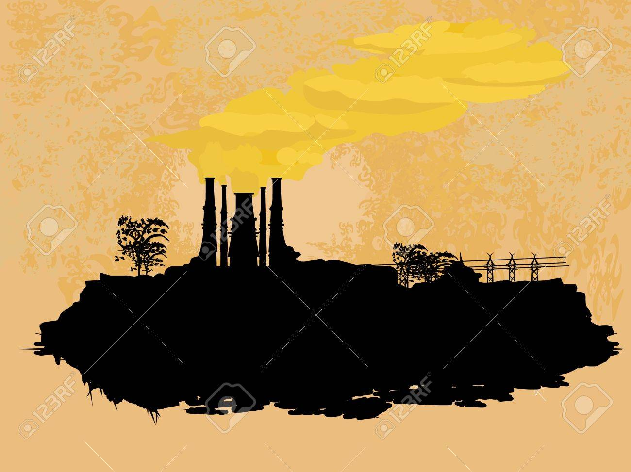 Thick smoke coming out of factory chimney Stock Vector - 13060013