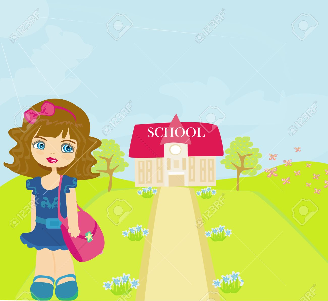 girl going to school Stock Vector - 13121717