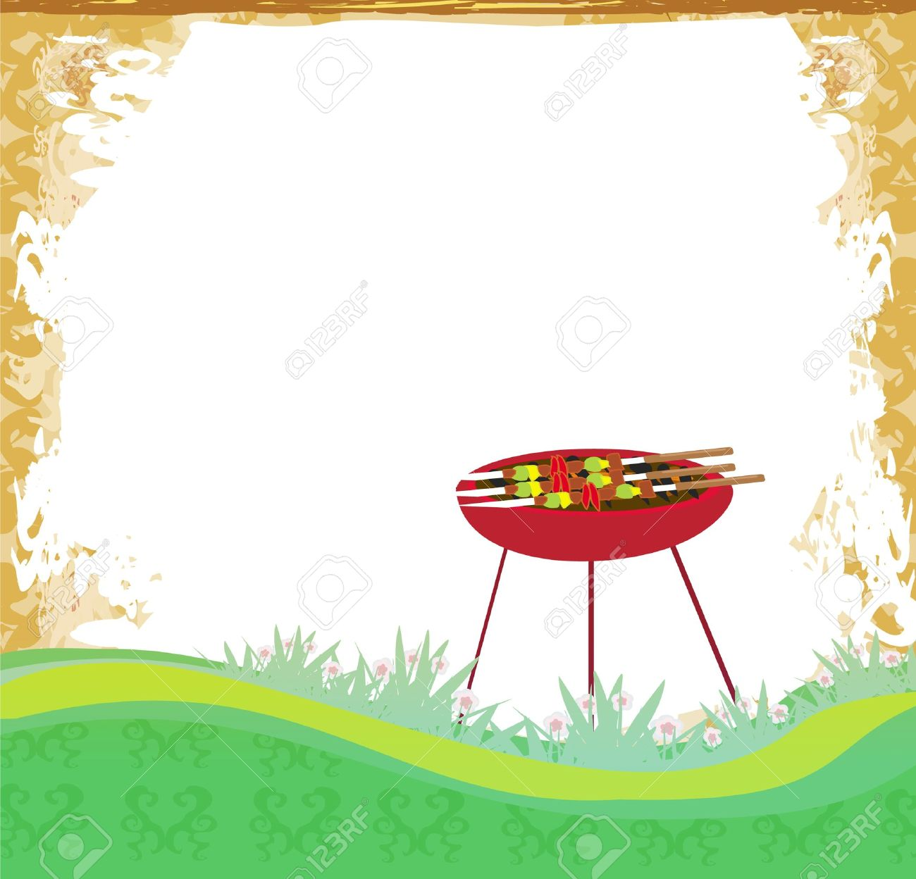 grunge Barbecue Party Invitation Stock Vector - 13423673