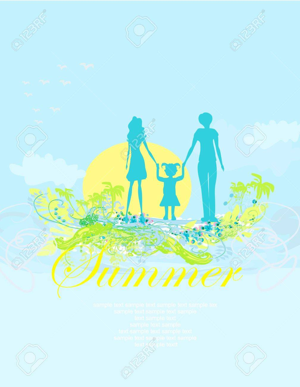 Family silhouette over tropical background Stock Vector - 13571376