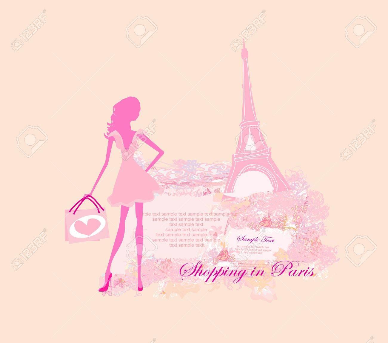 beautiful women Shopping in Paris - vector card Stock Vector - 13625583