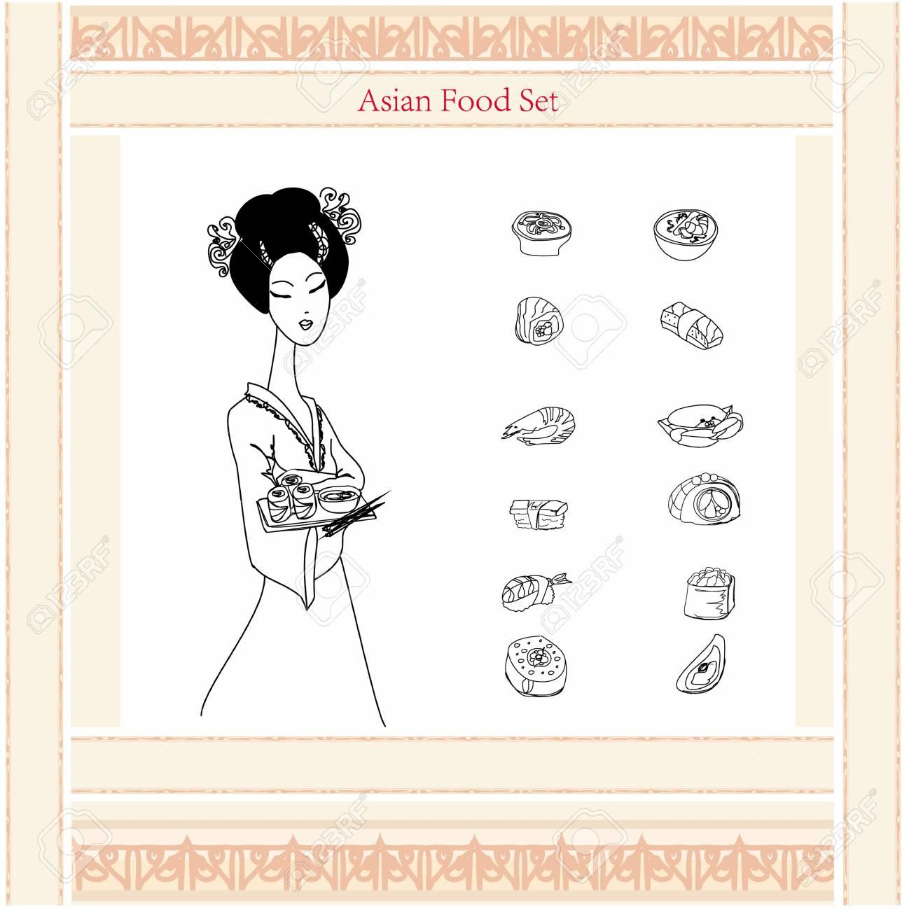 beautiful Asian girl enjoy sushi - menu template Stock Vector - 13658159