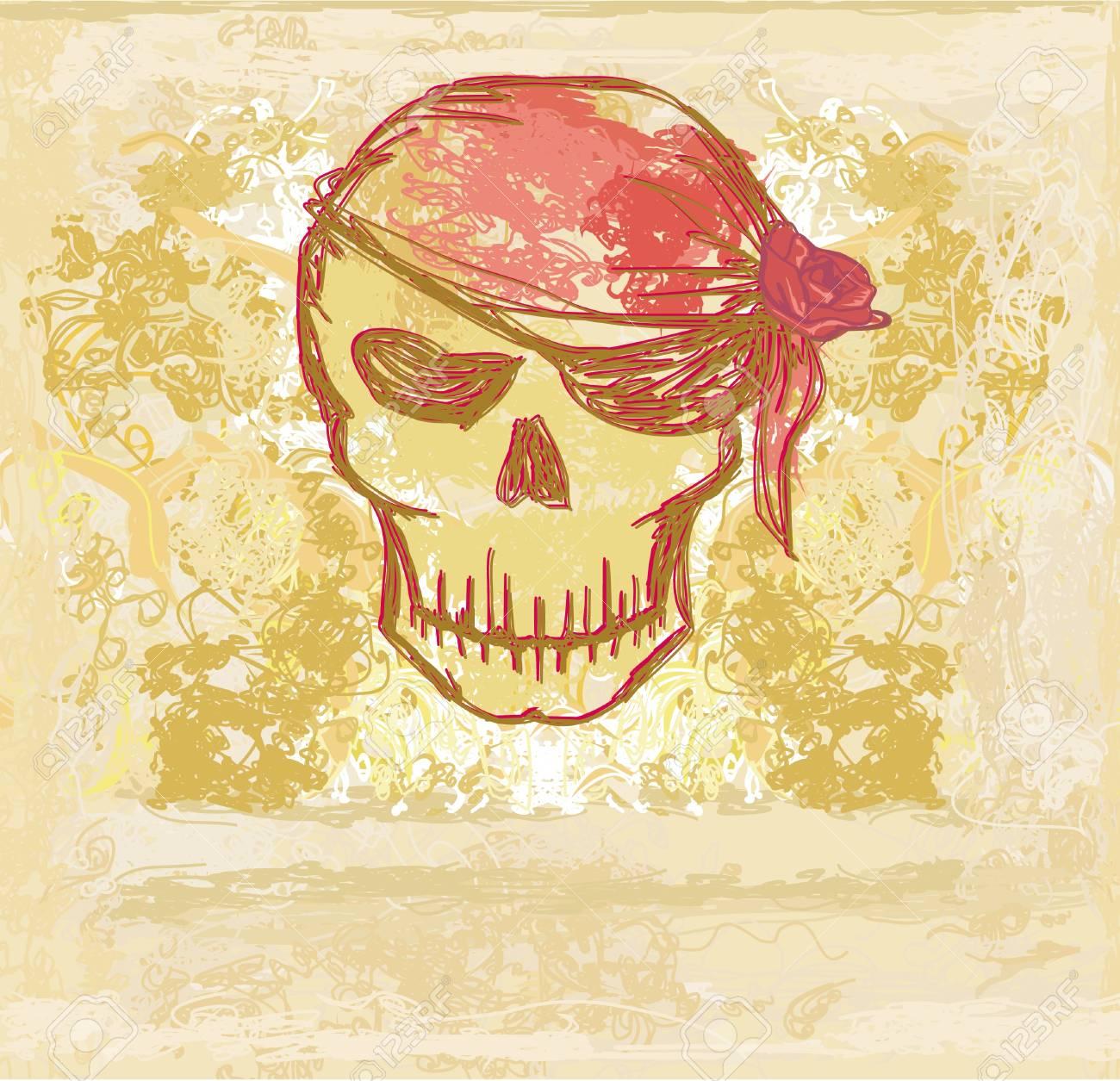 Skull Pirate - retro card Stock Vector - 13662463