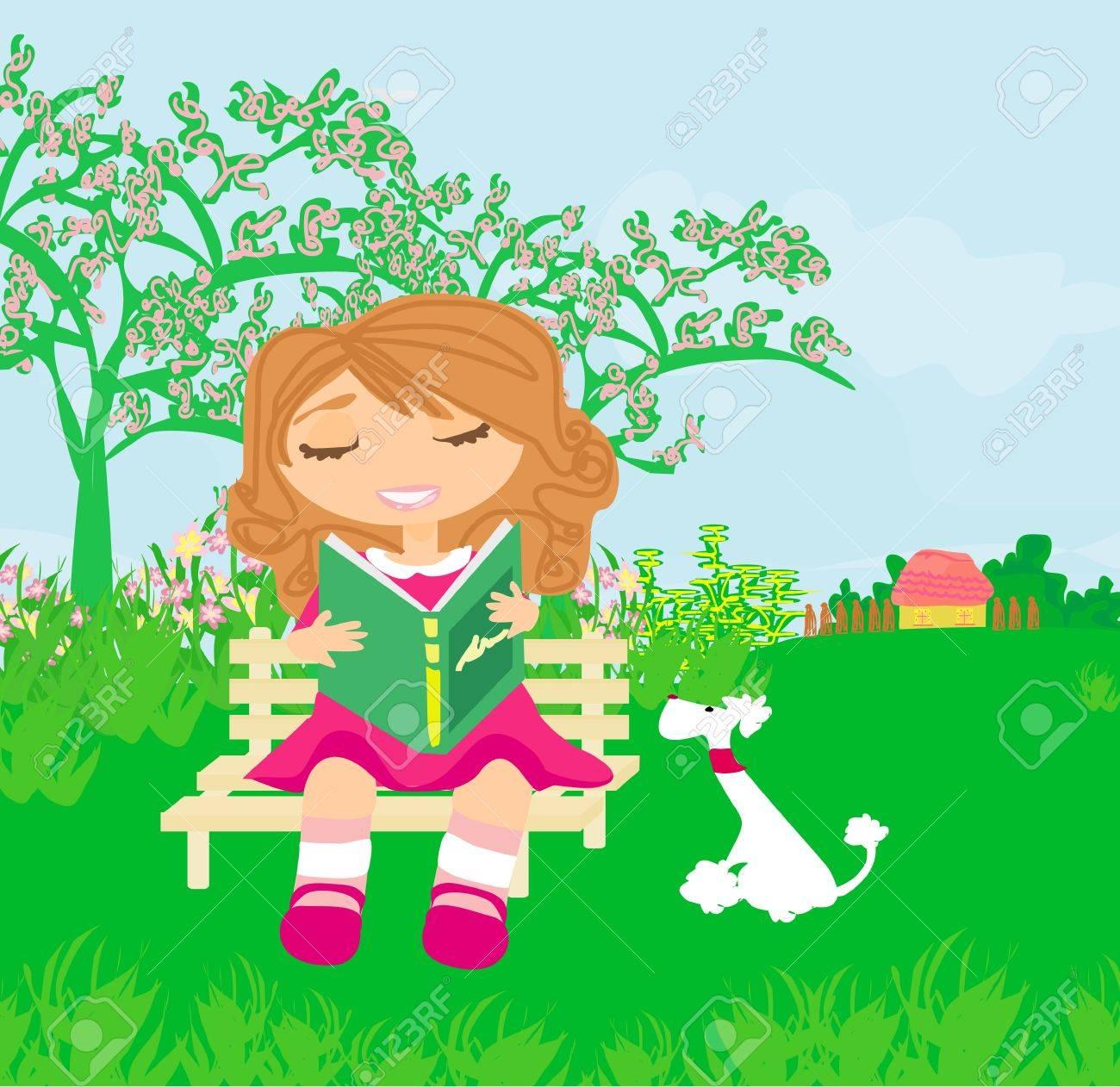 Teen girl Reading A Book Stock Vector - 13728892