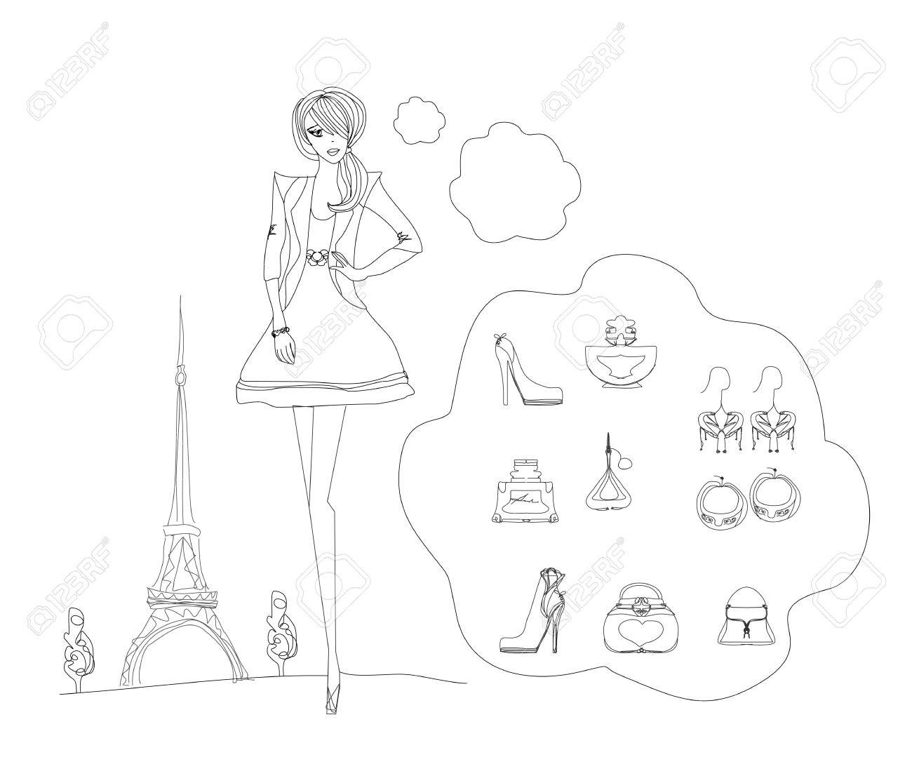 Paris fashion doodles set Stock Vector - 13774724