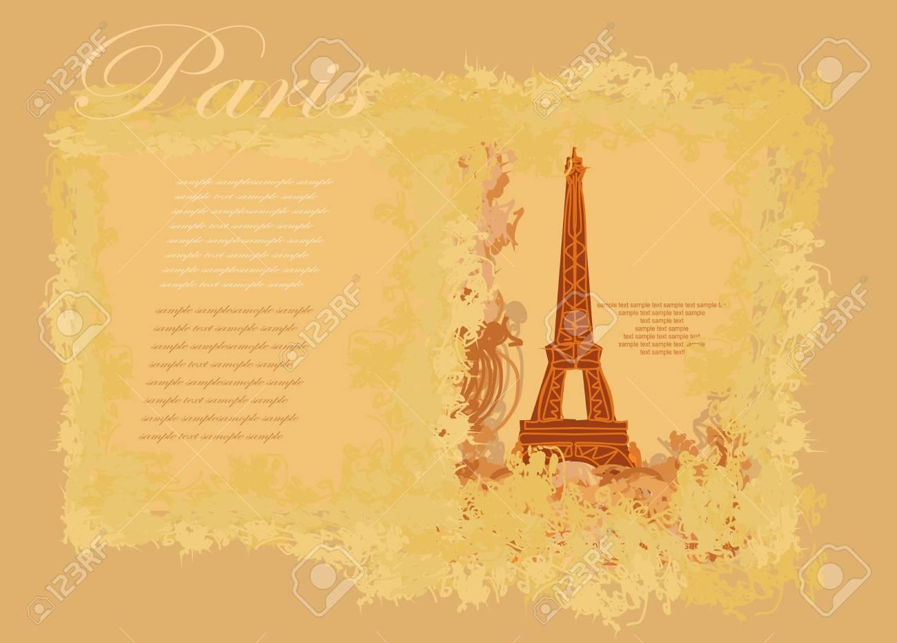 vintage retro Eiffel card Stock Vector - 13774741