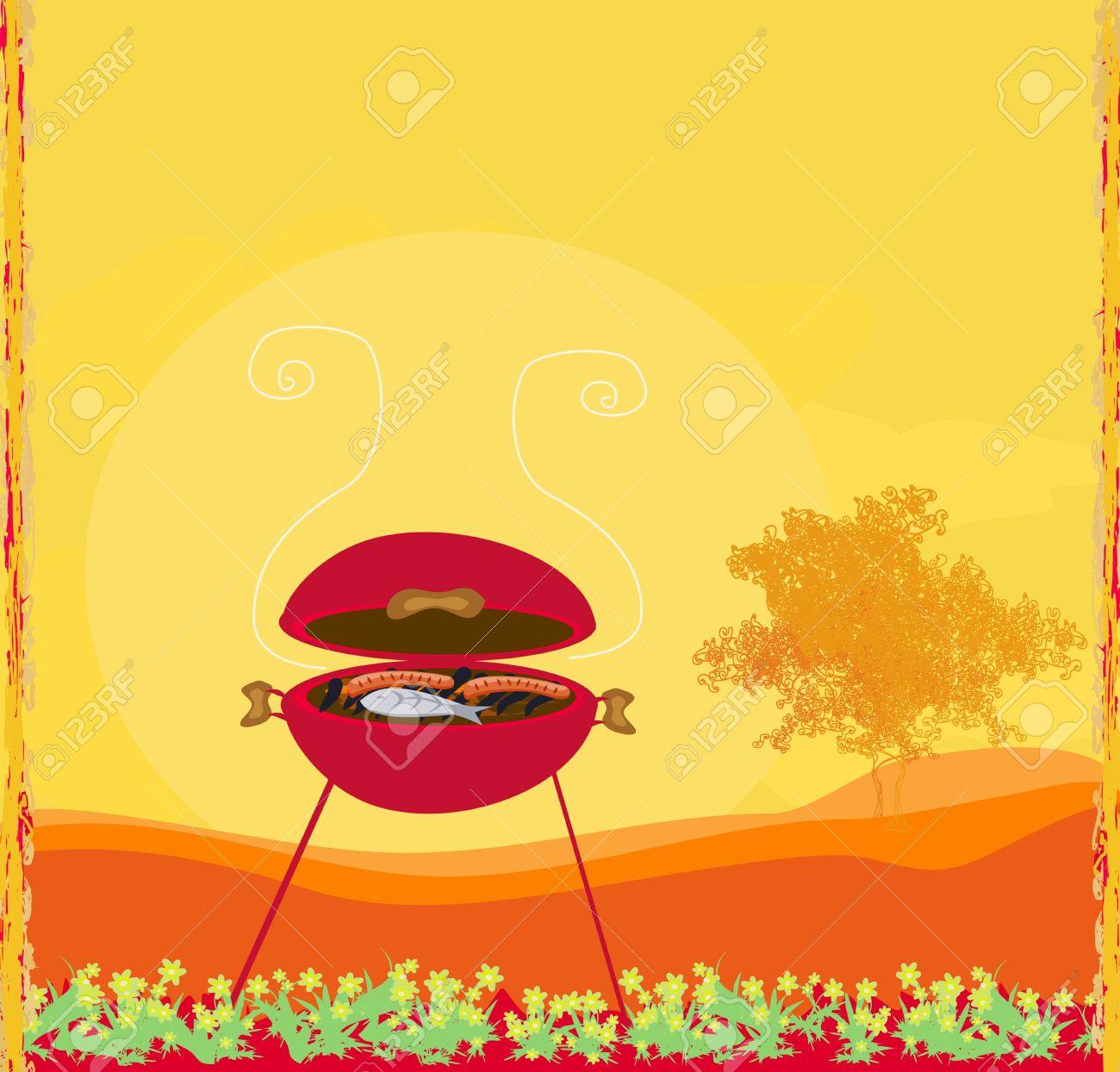 grill party-einladung lizenzfrei nutzbare vektorgrafiken, clip, Einladung