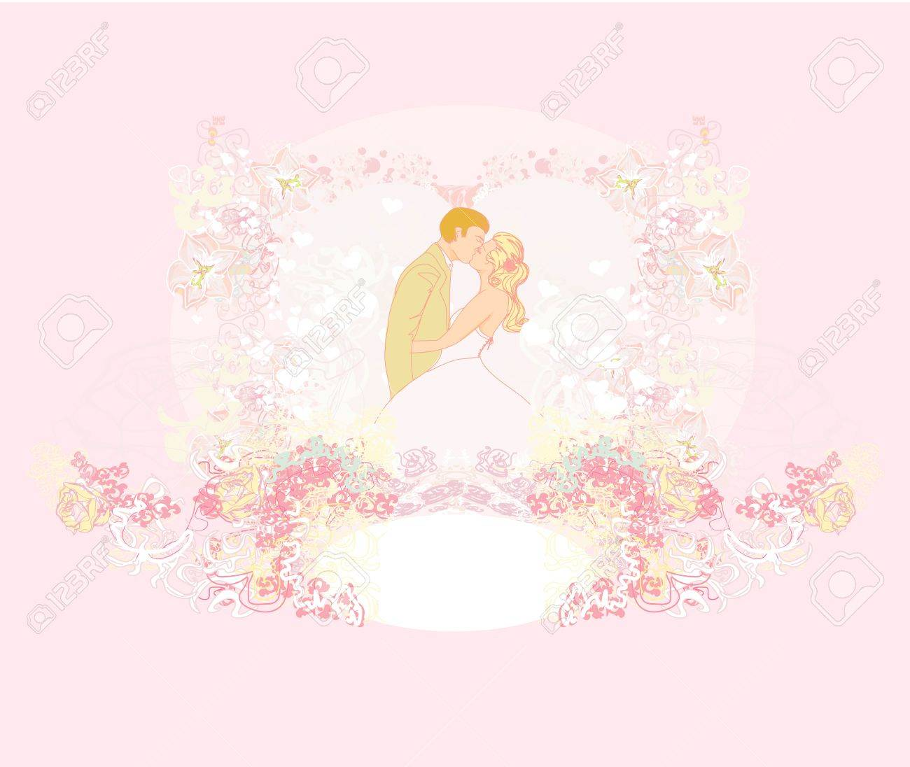 wedding couple kissing - vintage background Stock Vector - 14020484