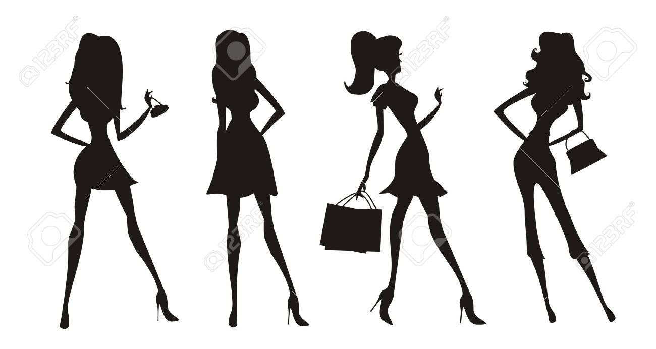 fashion shopping girls silhouettes Stock Vector - 14037648