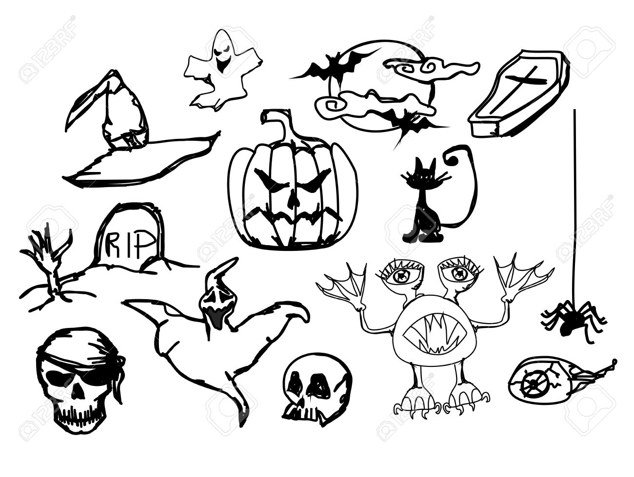 Set With Halloween Doodle Royalty Free Cliparts, Vectors, And ...